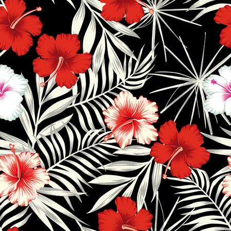 잎의 흑백 배경에 빨간색 흰색 히 비 스커 스 꽃. 원활한 벡터 비치 벽지 패턴 일러스트