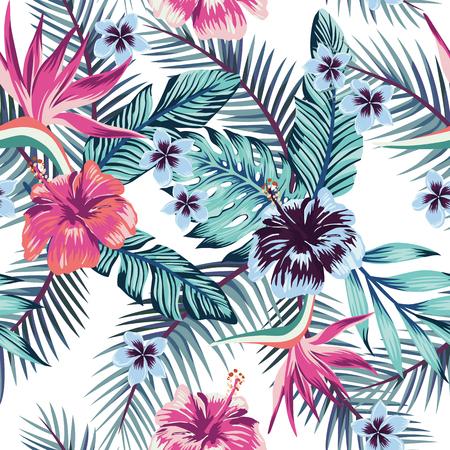 Bloemen van de paradijsvogel, hibiscus, plumeria en palmbladen in de jungle in abstracte kleur. Het naadloze vectorpatroon van het strandbehang op witte achtergrond