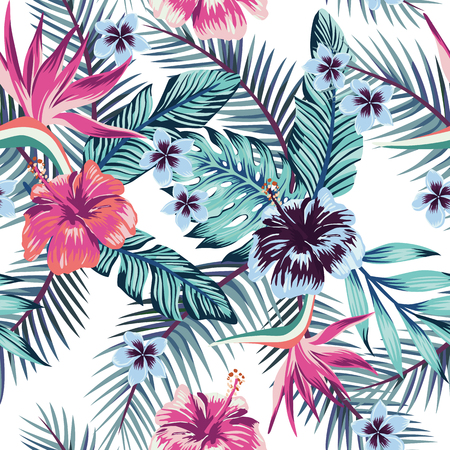 Flowers of the bird of paradise, hibiscus, plumeria and palm leaves in the jungle in abstract color. Seamless vector beach wallpaper pattern on white background