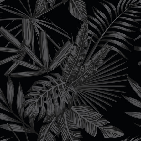Tropical leaves seamless pattern in black and white style