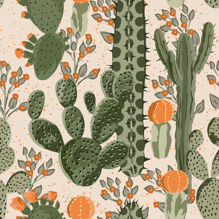 Green vector succulent cactus and orange flowers seamless pattern. Beach wallpaper. Cream background