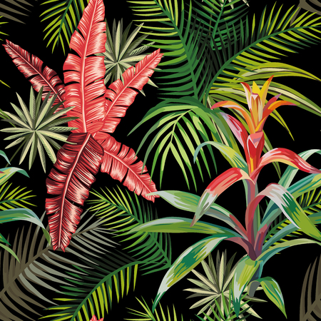 Beach composition of tropical leaves and plants. Seamless vector pattern on a black background