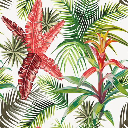 Beach composition of tropical leaves and plants. Seamless vector pattern on a light background