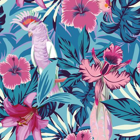 Fleurs et plantes tropicales de perroquets roses et arrière-plan bleu. Fond d'écran sans couture pour vecteur de plage