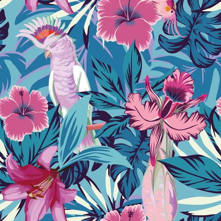 Pink parrot tropical flowers and plants blue background. Seamless beach vector wallpaper