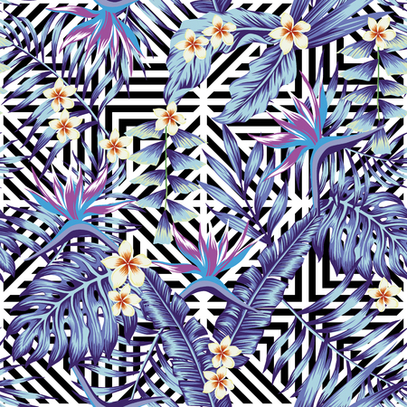Abstract tropical plants and flowers seamless vector pattern blue style geometric black white background