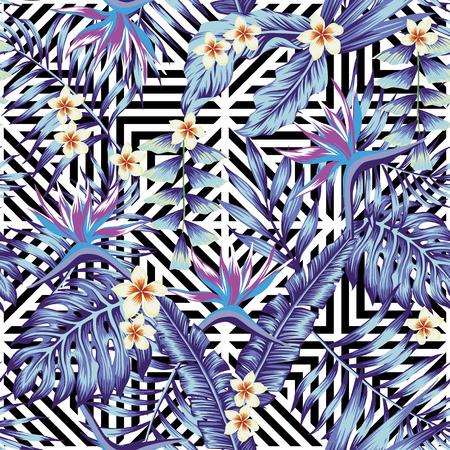 Abstracte tropische planten en bloemen naadloze vectorpatroon geometrische zwarte zwart witte achtergrond