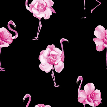 Beach wallpaper with a beautiful tropic pink flamingo and rose flowers. Seamless vector composition on black background