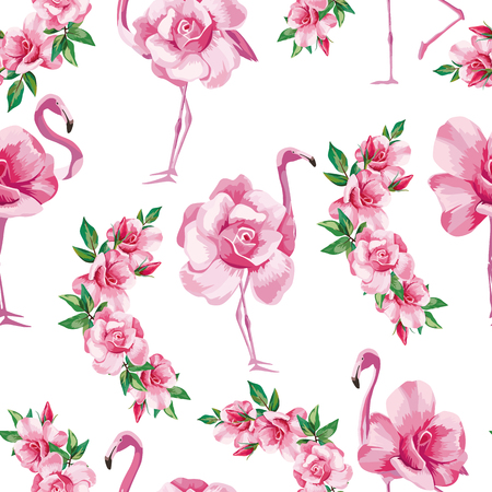 Beach image exotic wallpaper with a beautiful tropic pink flamingo and rose flowers. Seamless vector pattern composition on white background