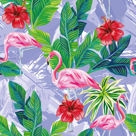 Seamless composition of tropical bird pink flamingo and palm leaves with red hibiscus flowers on background in one blue color painted with a brush