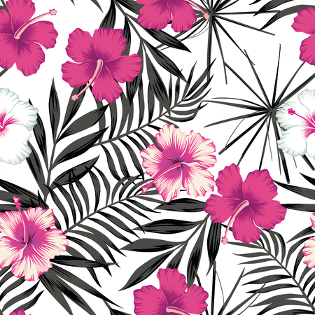 Pink white hibiscus flowers on a black and white background of leaves. Seamless vector beach wallpaper pattern