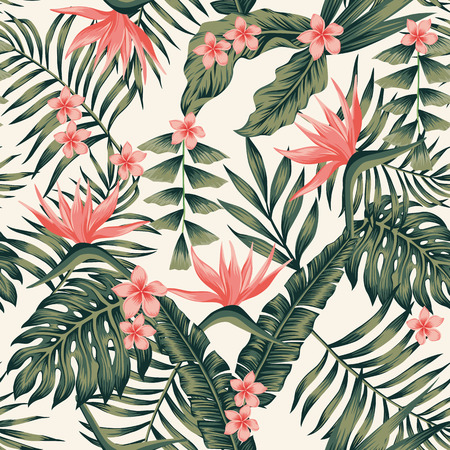Beach cheerful seamless pattern wallpaper of tropical dark green leaves of palm trees and flowers bird of paradise (strelitzia) plumeria on a light yellow background