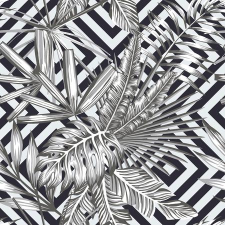 Tropical deja patrón transparente en estilo blanco y negro. Papel pintado de la playa fondo geométrico Foto de archivo - 83232170