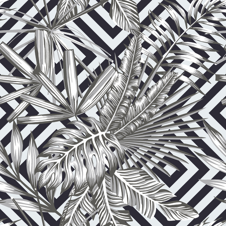 Tropical leaves seamless pattern in black and white style. Beach wallpaper geometric background