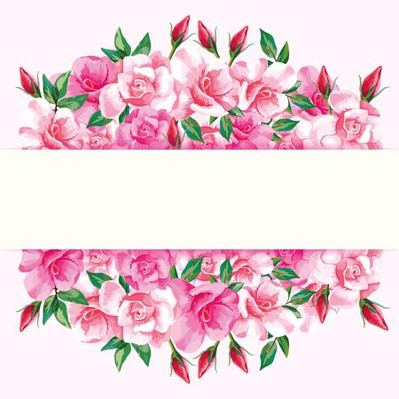 밝은 배경에 핑크 장미와 빈티지 가로 인사말 프레임. 벡터 꽃 장식 선물 또는 웨딩 카드입니다. 일러스트