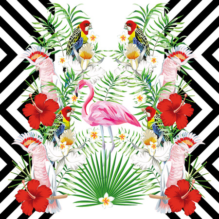 Mirror vector composition of tropical birds and plants, leaves and flowers. Multicolored parrots and pink flamingos on a geometric background
