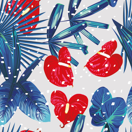 Exotic seamless composition with flower and plants. Xmas pattern tropical snow
