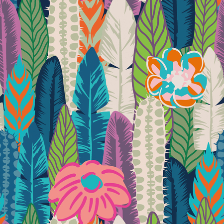 Vector seamless print of leaves, cactus and flowers abstract color. Flat wallpaper pattern background