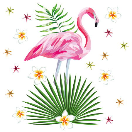 Vector illustration of a single pink flamingo, tropical leaves, flowers flat wallpaper, pattern background