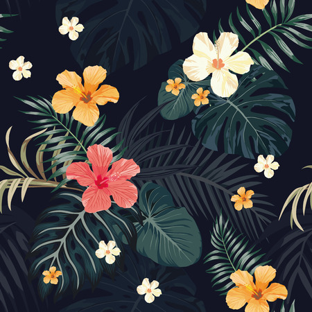 seamless vector illustration of a night jungle, tropical leaves, hibiscus flowers, tropical plant wallpaper, a dark background pattern 일러스트