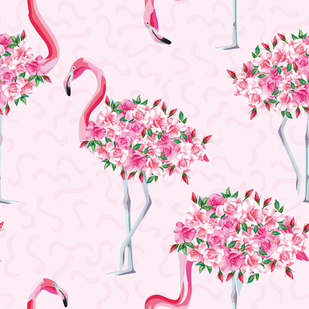 Beach image of a wallpaper with a beautiful tropic pink flamingo body of roses flowers. Seamless vector composition on pink abstract background Banco de Imagens - 85069177