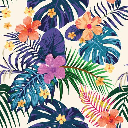 열 대 추상적 인 색 인쇄입니다. 꽃과 나뭇잎 해변 벽지 정글 이국적인 배경 일러스트