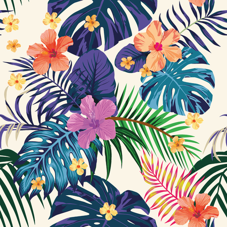 Tropical abstract color print. Flowers and leaves beach wallpaper Jungle exotic background Vettoriali