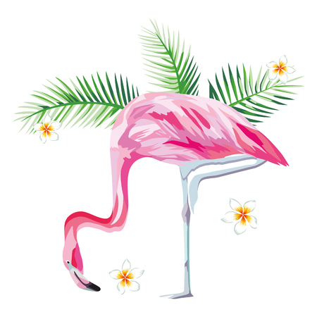 Tropical bird pink flamingo with tropical plants and flowers beach wallpaper Banco de Imagens - 85503347