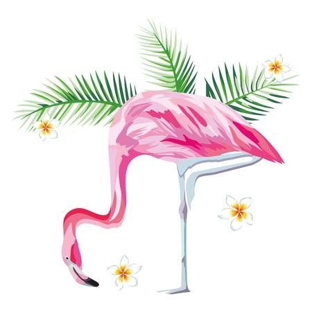 Tropical pájaro flamenco rosa con plantas tropicales y flores de playa de papel tapiz Foto de archivo - 85503347