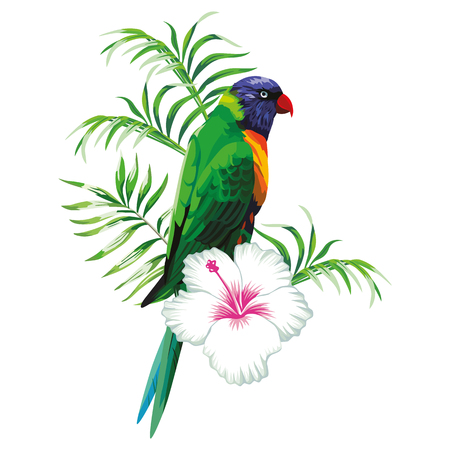 Green parrot with tropical plants and hibiscus flowers white background Ilustração