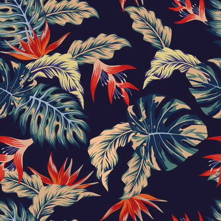 Night tropical jungle print seamless pattern leaves and flowers on the dark blue background Stock Illustratie