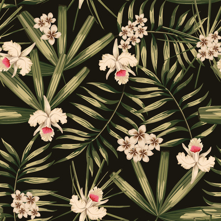 Retro print tropical flower and leaves seamless pattern black background