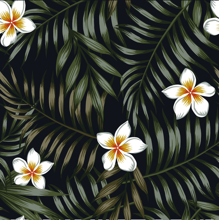 Night jungle background of tropical leaves and flowers seamless pattern. Dark wallpaper vector Illustration