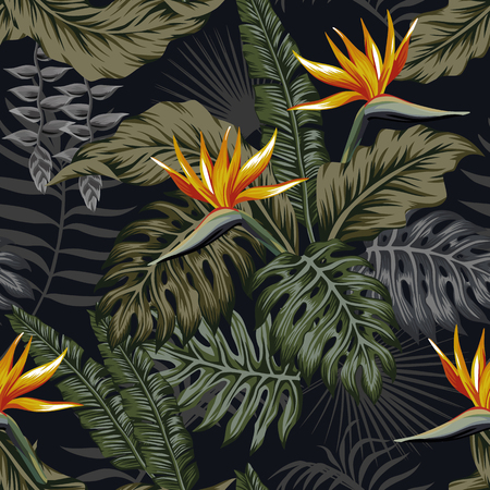 Night jungle tropical seamless pattern plants and flowers. Dark vector wallpaper Illustration