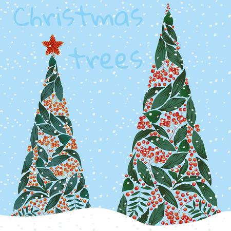 葉と青の背景に rowanberry 雪で作られたクリスマス ツリー