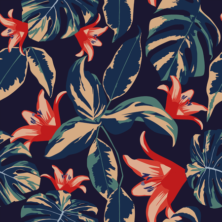 Exotic flowers and leaves seamless tropical design floral vector dark blue background Çizim