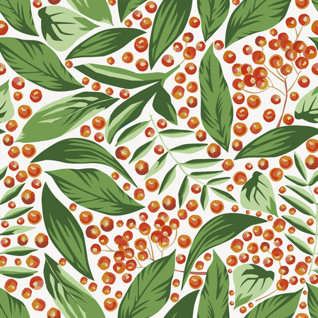 Rowanberry and leaves seamless pattern vector Ilustração