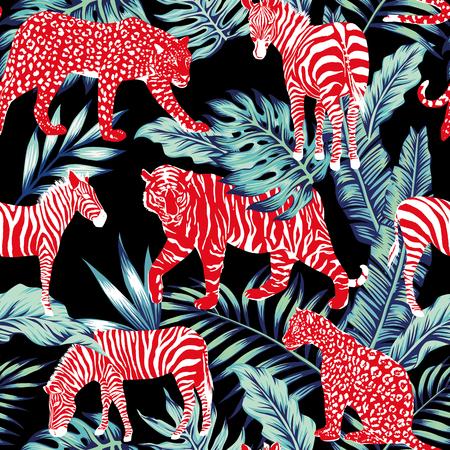 暗い夜のジャングルに赤の野生動物  イラスト・ベクター素材