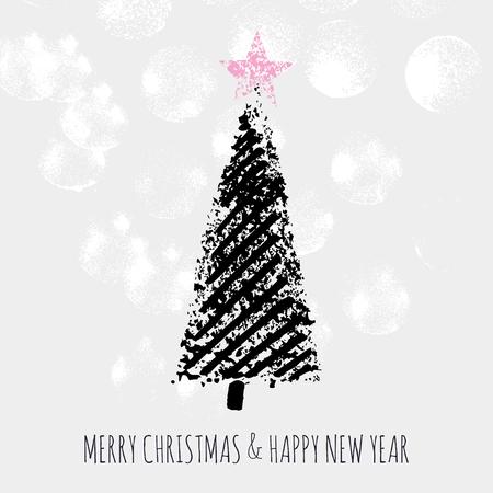Frohe Weihnachten des Slogans u. Guten Rutsch ins Neue Jahr-Fichte mit Stern Standard-Bild - 88302217