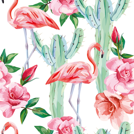 Vector seamless composition pink flamingo cactus roses cool wallpaper floral background