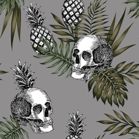 Composition of hand drawn skull pineapple and tropical leaves pattern seamless Vectores