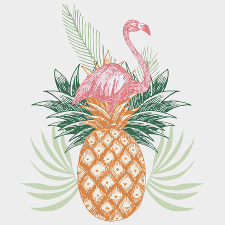Hand drawn pink flamingo on pineapple tropical print. 向量圖像
