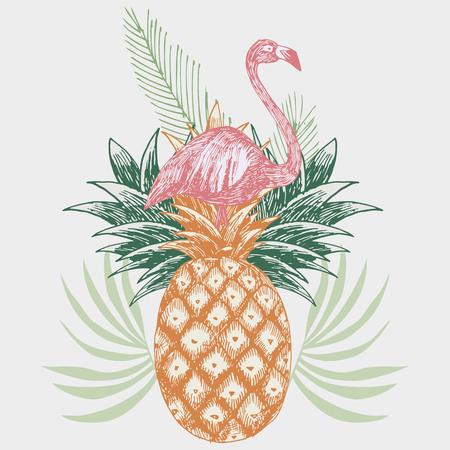 Hand getekend roze flamingo op tropische ananas print. Stock Illustratie