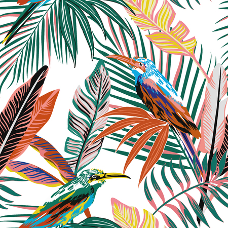 Abstract color tropical birds in the jungle seamless background. Beach palm leaves vector pattern wallpaper Stock Illustratie