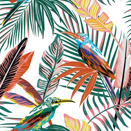 Uccelli tropicali di colore astratto nei precedenti senza cuciture della giungla. Carta da parati del modello di vettore delle foglie di palma della spiaggia Vettoriali