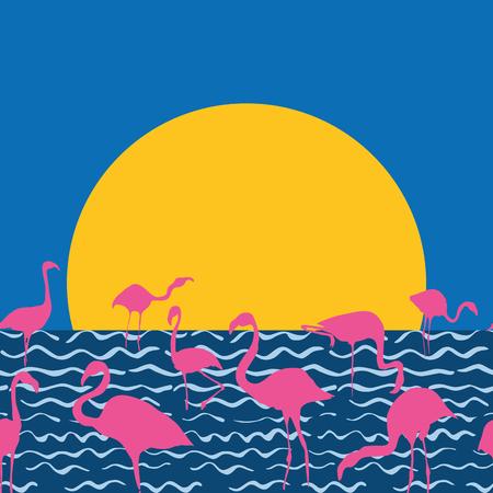 Flaningo on the sunset sea sitting sun, hand drawn vector illustration. Beach print wallpaper