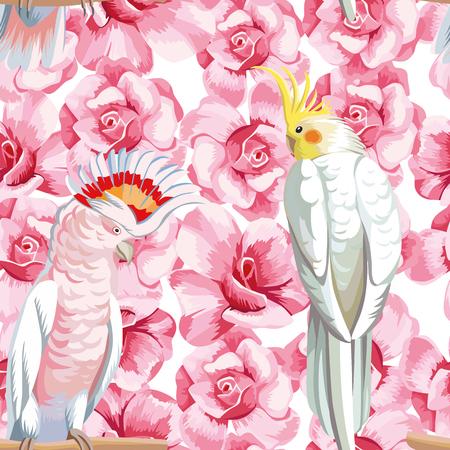 Naadloze vectorsamenstellingsrozen en papegaai. Patroon strandkunst wllpaper
