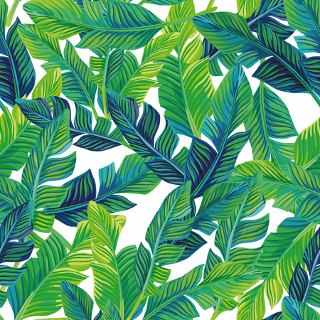 Tropical palm leaves seamless pattern vector background. Exotic beach art print on the white background