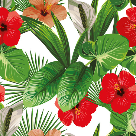 Exotic hibiscus flowers and tropical leaves white background. Vector beach pattern wallpaper Ilustracja