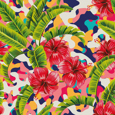 Hibiscus banana leaves multicolor camo abstract beach background. Vector seamless pattern wallpaper